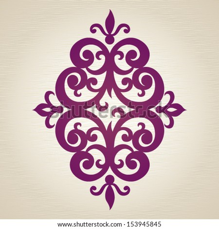 Symmetric ornament pattern in Victorian style. Element for design. It can be used for decorating of invitations, cards, decoration for bags and at tattoo creation. - stock vector