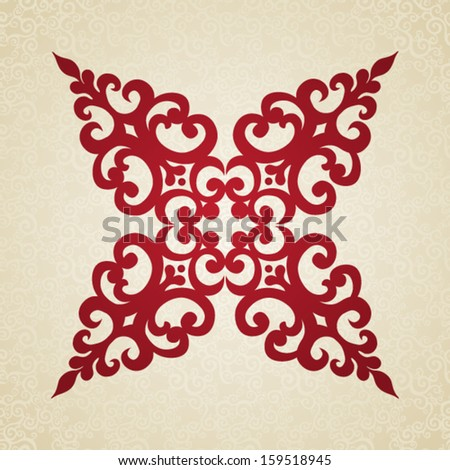 Symmetric ornament pattern in Victorian style on seamless curls background. Element for design. It can be used for decorating of invitations, cards, decoration for bags and at tattoo creation. - stock vector