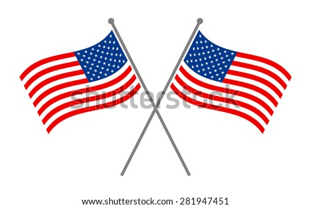 Symmetrical Crossed American Flags with Red and Blue Stars and Stripes pattern vector logo
