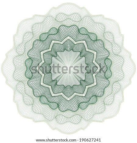 Symmetrical guilloche rosette for certificate, diploma, voucher, currency and money design, banknote. / Stock vector / CMYK color / All lines and color are easy editable. - stock vector