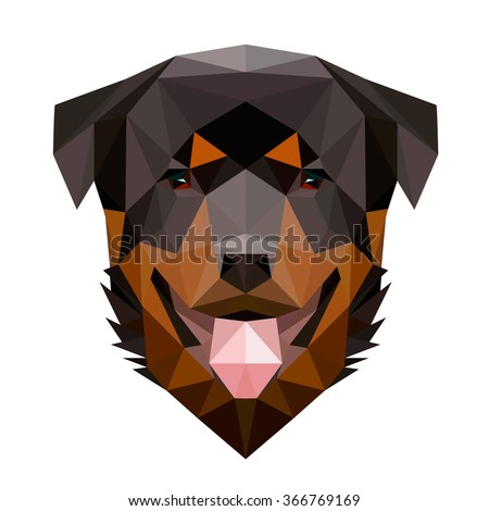 Symmetrical vector illustration of rottweiler dog. Made in low poly triangular style. - stock vector