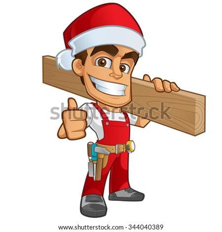 Sympathetic carpenter santa claus dress, he's on a white background - stock vector
