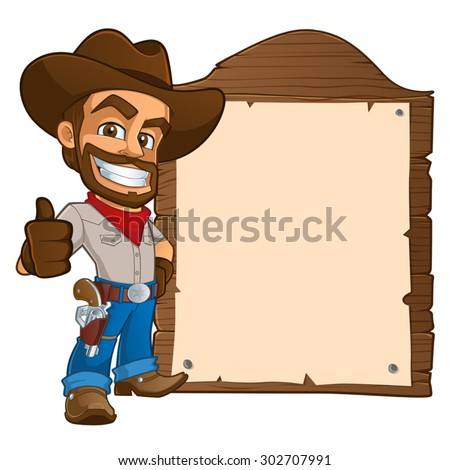 sympathetic cowboy hat, wears boots and a gun. You have a space to put your text - stock vector
