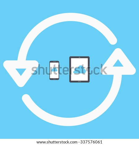 Sync devices. phone and tablet via the cloud - stock vector