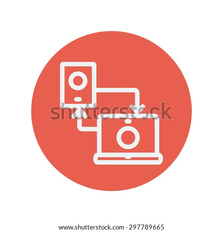 Synchronization smartphone with laptop thin line icon for web and mobile minimalistic flat design. Vector white icon inside the red circle. - stock vector