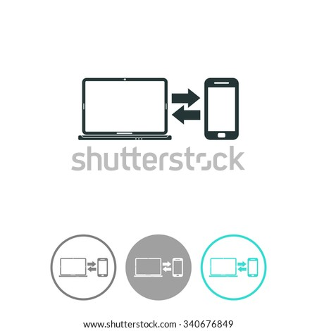 Synchronization vector icon. Notebook with phone sync symbol. Data exchange icon. - stock vector