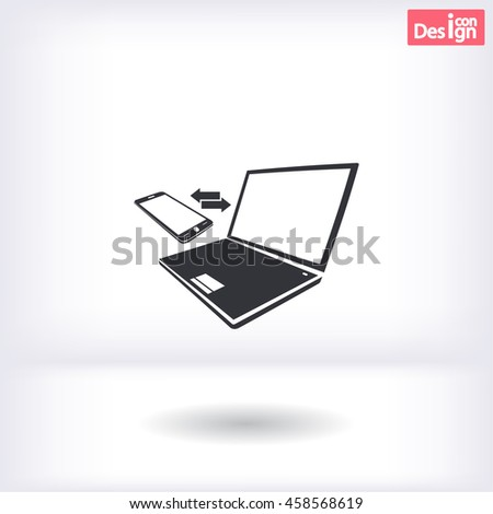 Synchronization vector icon. Notebook with phone sync symbol.icon. Vector  Eps 10  - stock vector