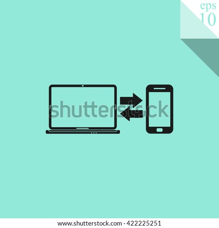 Synchronization vector. Notebook with phone sync symbol. Data exchange icon. - stock vector
