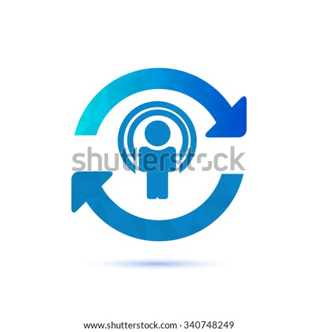 Synchronize user icon, update icon with man in the center. - stock vector