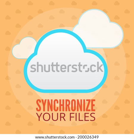 Synchronize your files flat illustration. Cloud synchronize data and files, orange background with seamless pattern. Internet modern technologies, save all your files in one place. - stock vector