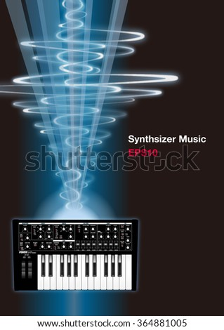 synthesizer and sound wave vector illustration - stock vector