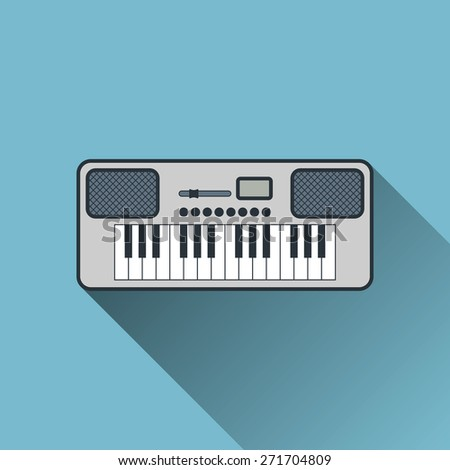 Synthesizer Icon, Flat Design with Long Shadow, Vector Illustration - stock vector