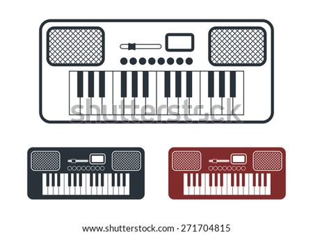 Synthesizer Icons Set, Flat Design, Vector Illustration - stock vector