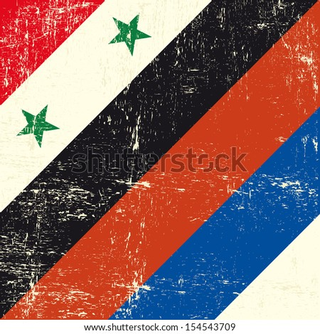 Syria and Russia grunge flag. This flag represents the relationships between Russia and Syria