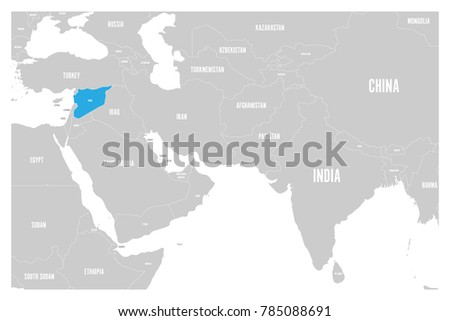 Syria Blue Marked Political Map South Stock Vector - Is syria in asia