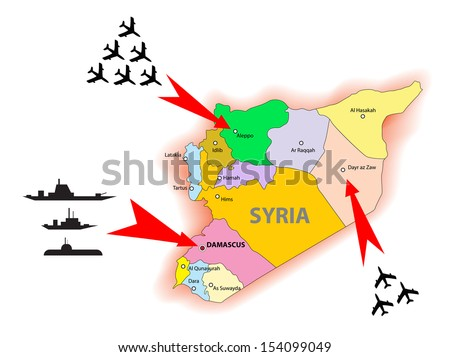 Syria conflict illustration - stock vector