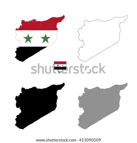Syria country black silhouette and with flag on background, isolated on white - stock vector