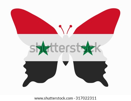 syria flag butterfly - stock vector