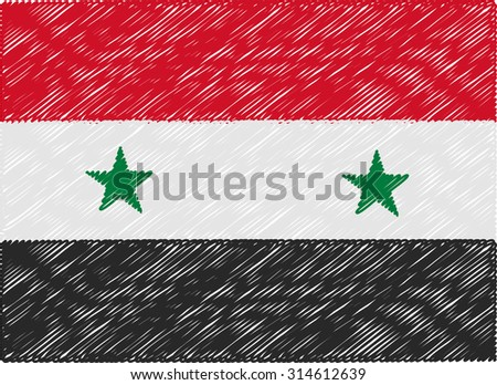syria flag embroidered zigzag - stock vector