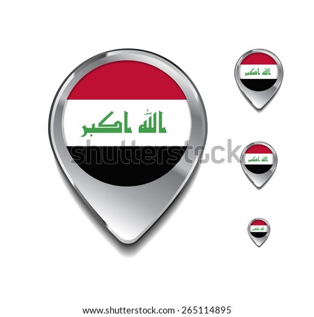 Syria flag map pointer. 3d Map Pointer with flag glossy button style on gray background - stock vector