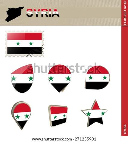 Syria Flag Set, Flag Set #146. Vector. - stock vector
