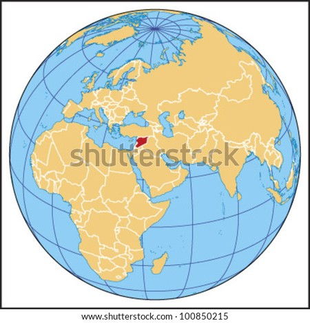 Syria Locate Map - stock vector