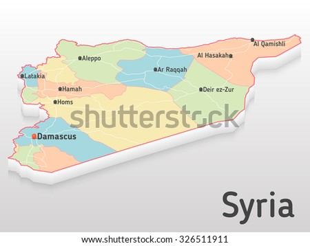 Syria map 3d with main cities and governorates. Volumetric map with cities and roads.  - stock vector