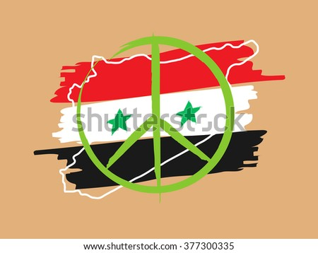 Syria peace linear vector illustration with syria outline map, flag, peace label, stars. Peaceful Syria (peace, freedom, patriotic, pacifism) hand drawn creative graphic concept.   - stock vector