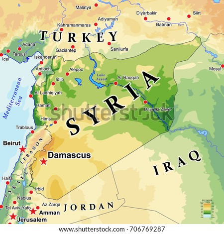 Syria Physical Vector Map Bahtymetry City Stock Vector HD Royalty