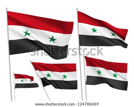 Syria vector flags. A set of 5 wavy 3D flags created using gradient meshes. - stock vector