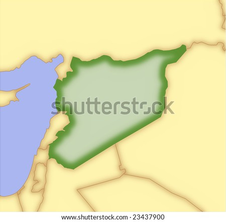 Syria, vector map, with borders of surrounding countries. 5 named layers, fully editable. - stock vector