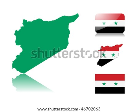 Syrian map including: map with reflection, map in flag colors, glossy and normal flag of Syria. - stock vector