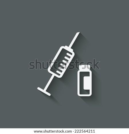 syringe and vial medical symbol - vector illustration. eps 10 - stock vector