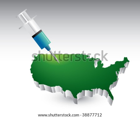 syringe featured with the united states - stock vector