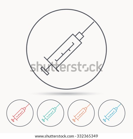 Syringe icon. Injection or vaccine instrument sign. Laboratory analyze symbol. Linear circle icons. - stock vector