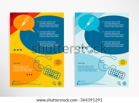 Syringe icon on chat speech bubbles. Modern flyer, brochure vector template - stock vector
