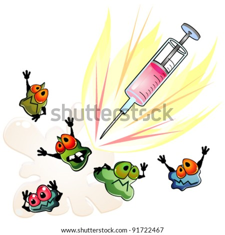 Syringe is against germs - stock vector