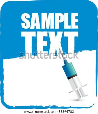 syringe on blue banner - stock vector
