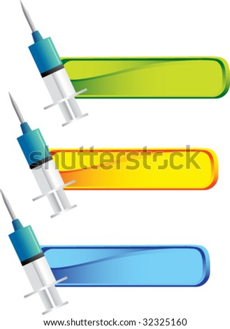 syringe on colored tabs - stock vector