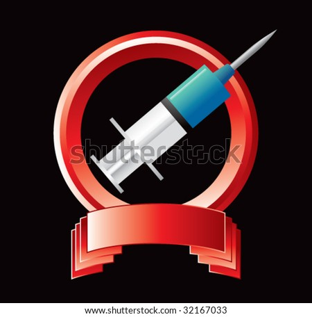 syringe on red display - stock vector