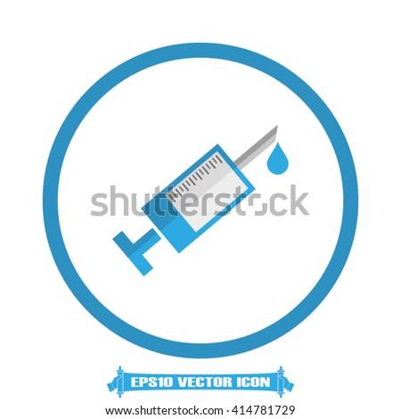 Syringe vector icon. Illustration syringe eps10 vector graphics. Syringe logo. Syringe web icon. Syringe silhouette. Syringe application icon. Syringe icon, flat style design. - stock vector