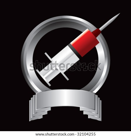syringe with blood on silver display - stock vector