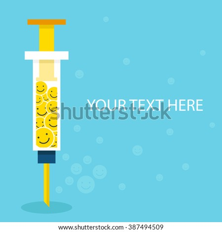 Syringe with happy vaccine and copy space, flat Design, Health care and medical concept - stock vector