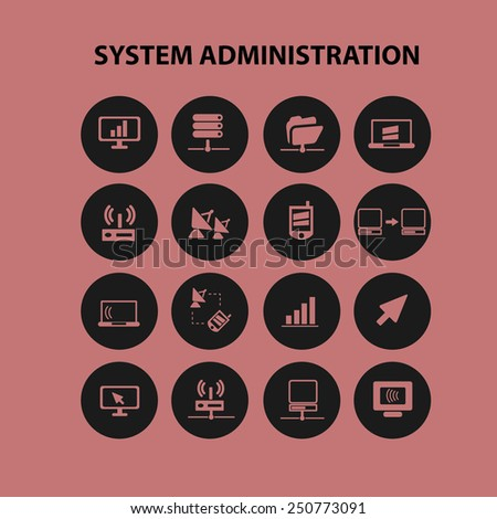 system administration, server icons, signs, illustrations set, vector - stock vector