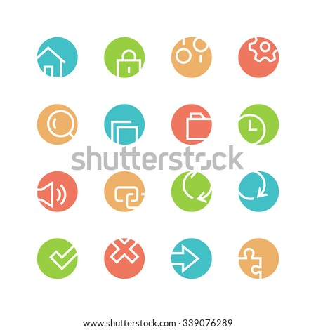 System icon set - vector minimalist. Different symbols on the colored background. - stock vector