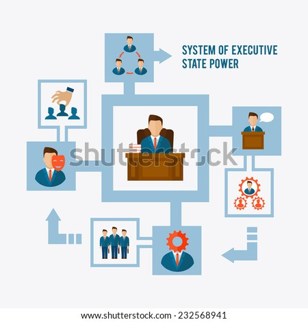 System of executive state power concept with corporate management elements flat vector illustration - stock vector