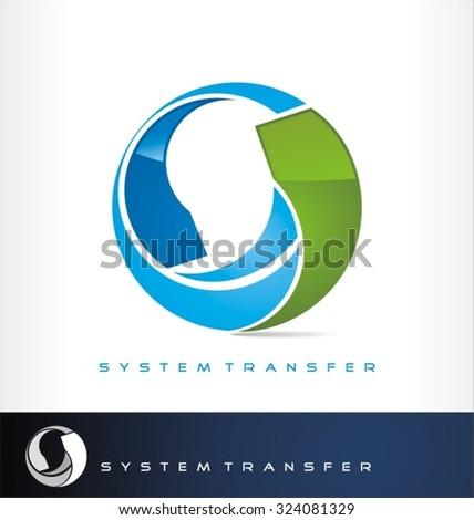 System transfer logo vector or exchange symbol - stock vector