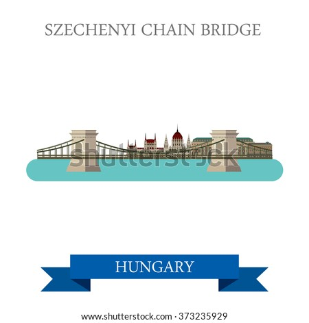 Szechenyi Chain Bridge in Budapest Hungary. Flat cartoon style historic sight showplace attraction landmarks web site vector illustration. World countries cities vacation travel sightseeing collection - stock vector