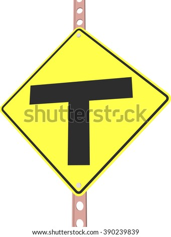 T intersection - 3d illustration of yellow roadsign isolated on white background - stock vector
