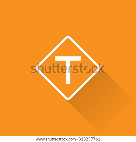 T Intersection Sign - stock vector